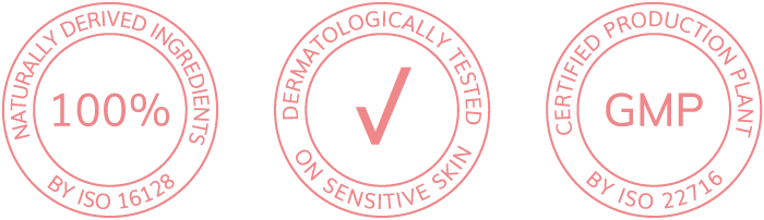 100% of naturalny derived ingredients, dermatologically tested on sensitive skin, certified production plant