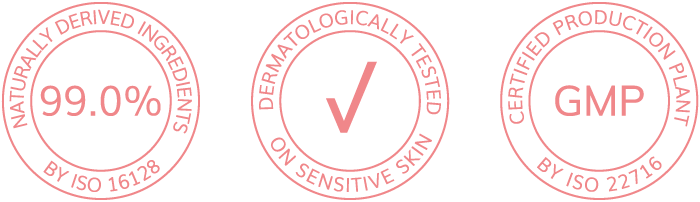 99,0% of naturalny derived ingredients, dermatologically tested on sensitive skin, certified production plant